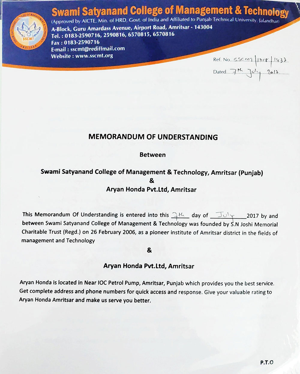 MOU/ Tie ups - Swami Satyanand College of Management and